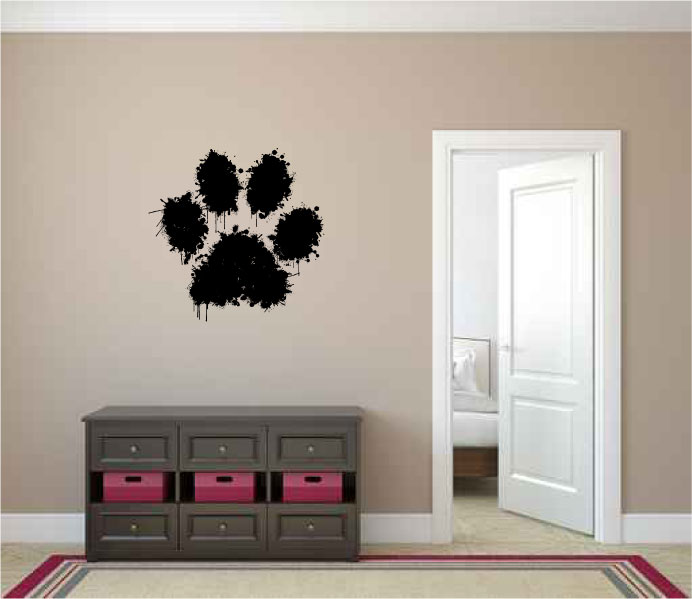 Paw Print Paint Splatter Vinyl Wall Decal Sticker Graphic