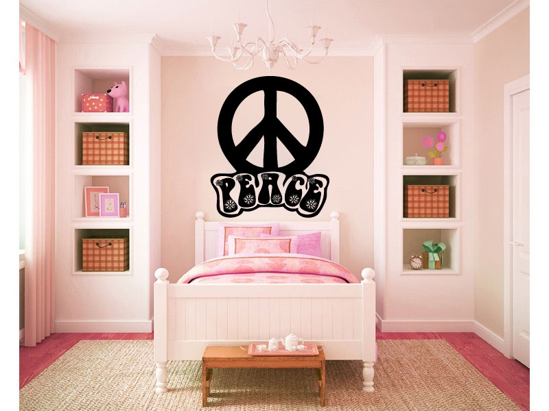 Groovy Peace Sign Symbol Vinyl Wall Words Decal Sticker