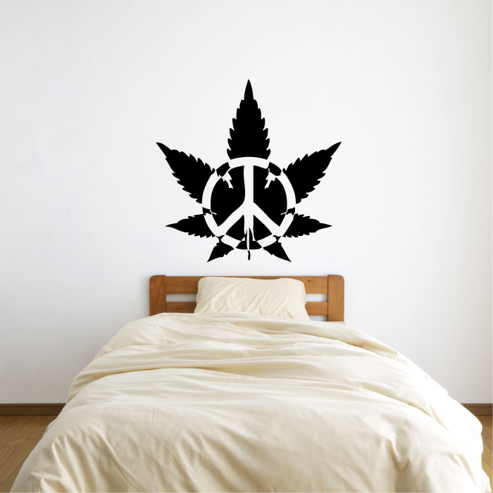Marijuana Pot Leaf with Peace Sign Symbol Vinyl Wall Decal Sticker