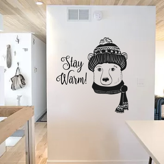 Winter Polar Bear Stay Warm Vinyl Wall Words Decal Sticker Graphic