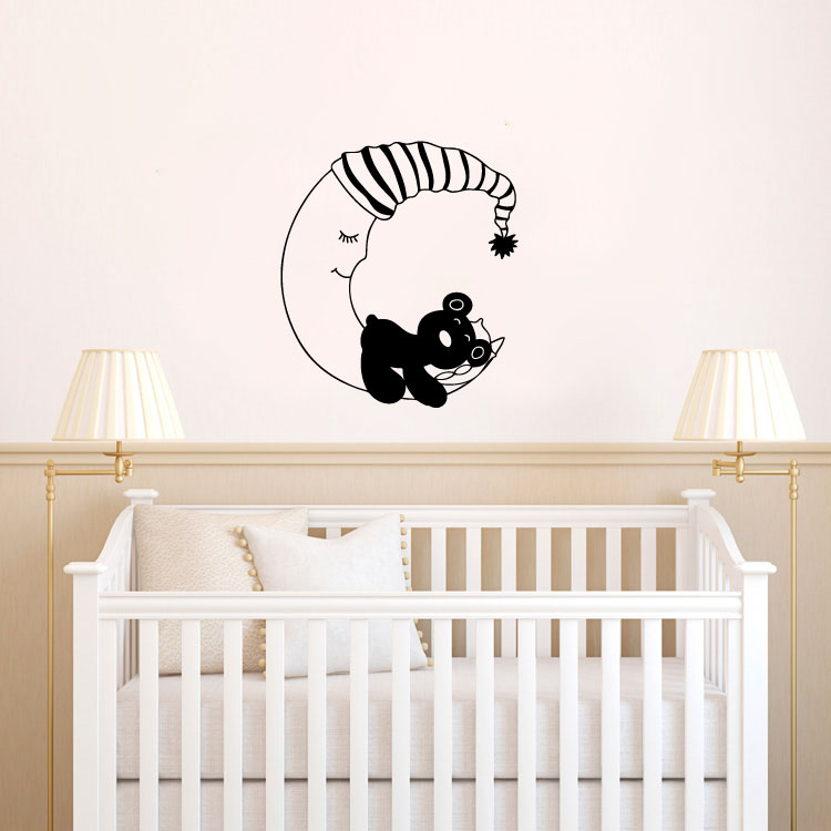 Teddy Bear Sleeping on the Moon Wall Words Decal Sticker Graphic