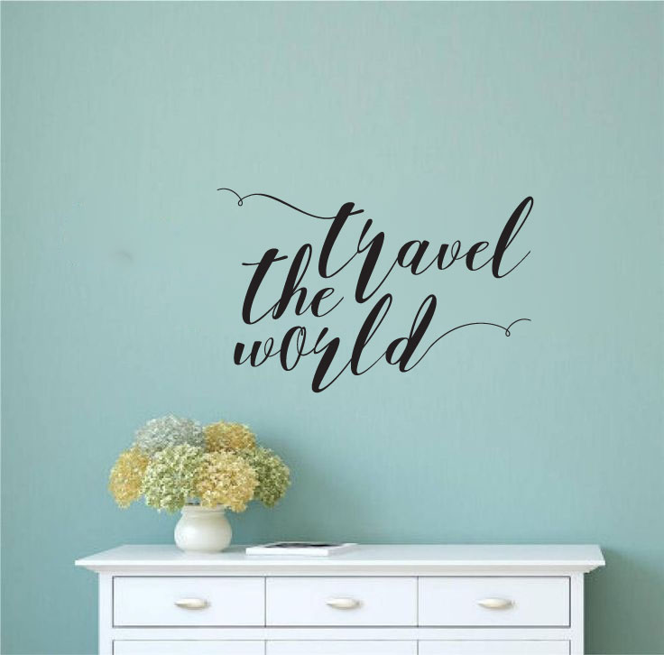 Travel The World Vinyl Wall Words Decal Sticker Graphic