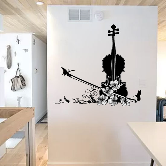 Violin with Butterflies and Flowers Vinyl Wall Decal Sticker Graphic