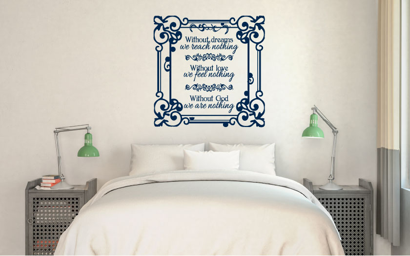 Without Dreams We Reach Nothing Vinyl Wall Words Decal Sticker