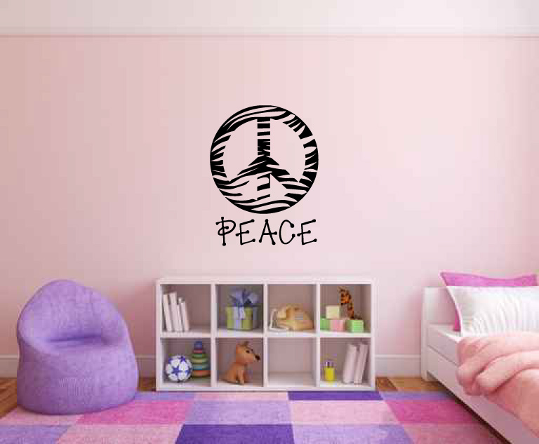 Zebra Print Peace Sign Symbol Vinyl Wall Words Decal Sticker